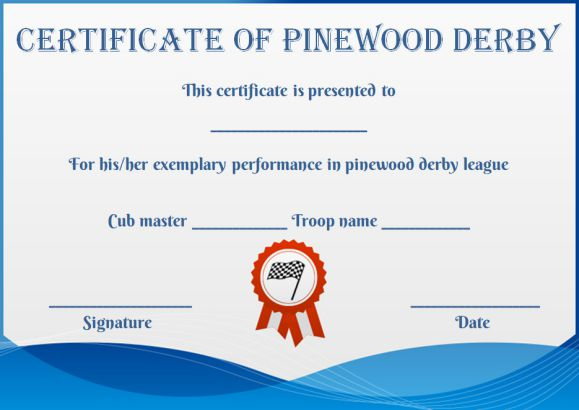pinewood derby certificate template