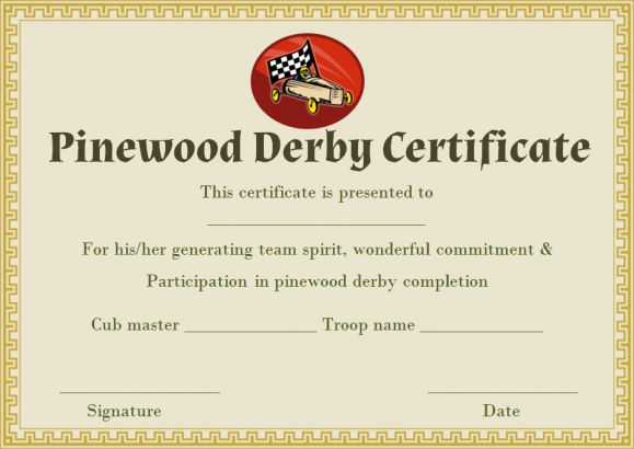 pinewood derby certificate templates