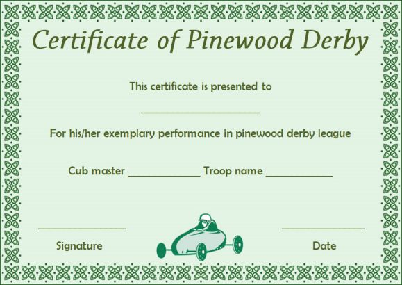 pinewood derby certificate templatess