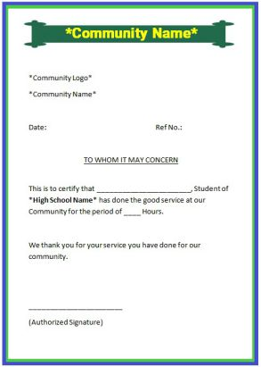 Sample community service letter for high school student