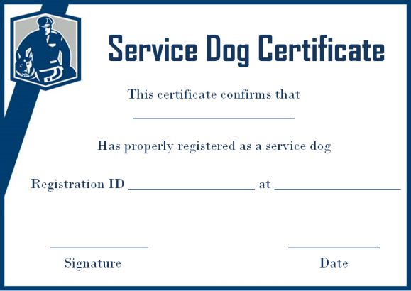 Service Dog Certificate Template Free