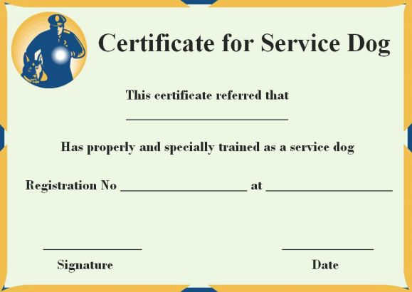 Service Dog Certificate Templates Free