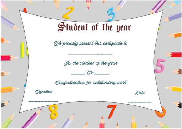 student of the year award certificate template