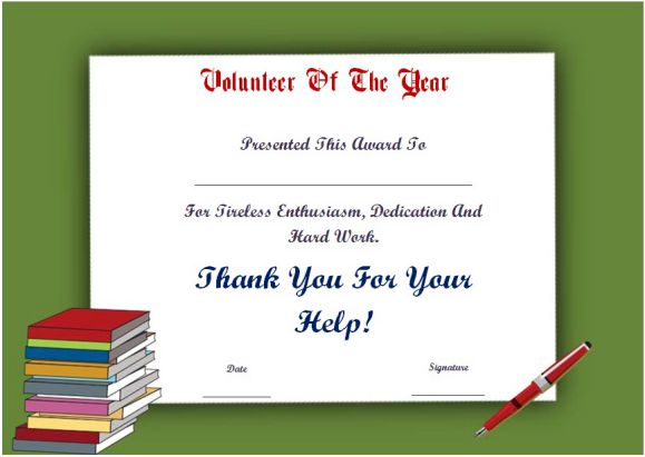 student volunteer of the year award certificate
