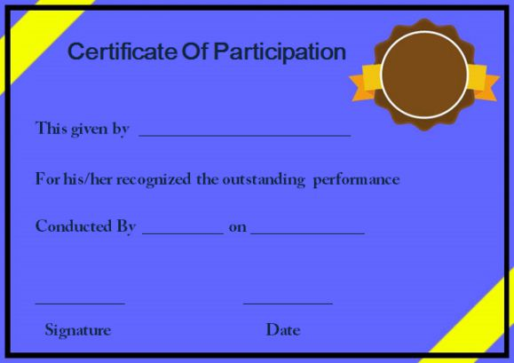 Template For Certificate Of Participation In Workshop