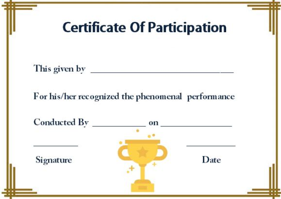 Template For Certificate Of Participation In Workshop Template