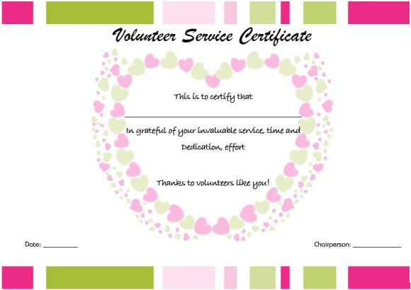 Thank you certificate for volunteers