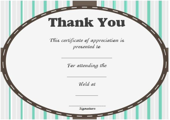 Thank you for attending certificate