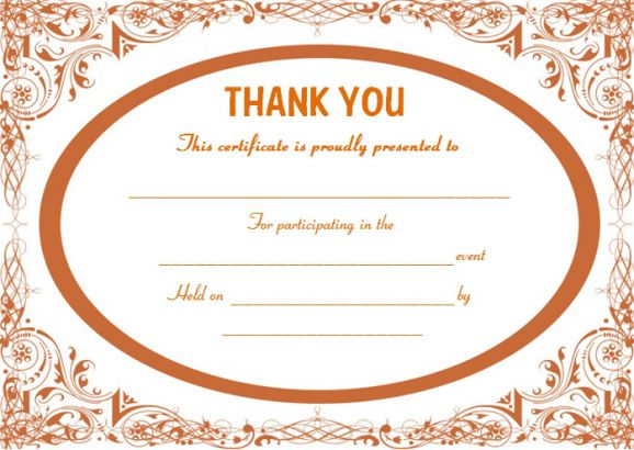 Thank you for participating certificate template