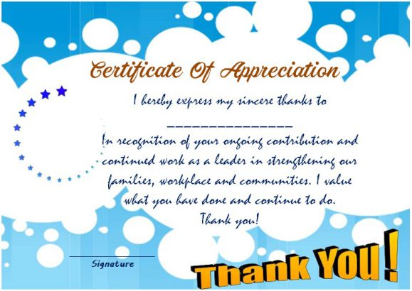 Thank you for your service certificate template