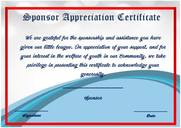 Thank you for your sponsorship certificate