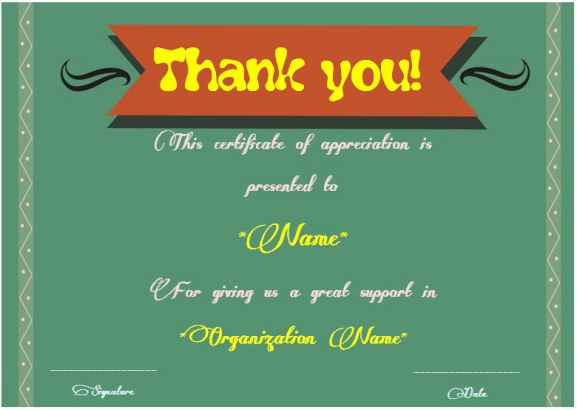 Thank you for your support certificate template