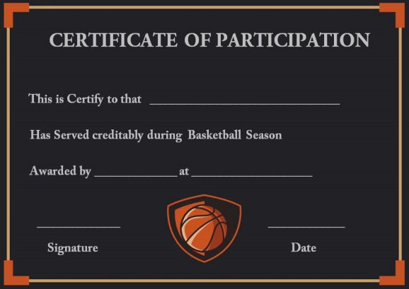 Youth basketball participation certificates