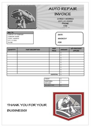 Fake Auto Repair Invoice Template