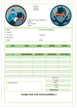 Garage Repair Invoices Template
