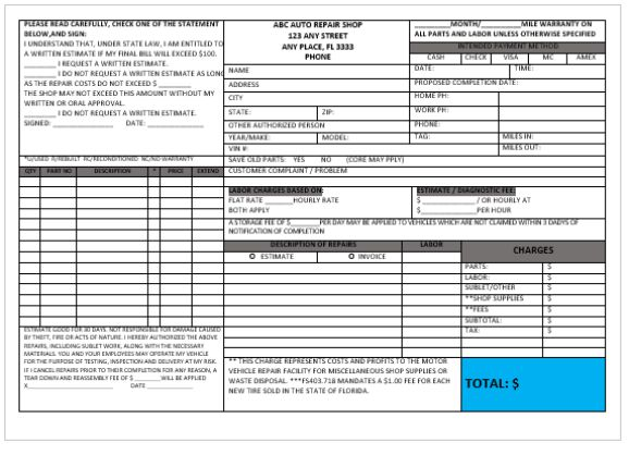 Garage Repairs Invoice Template