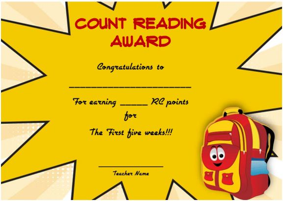 Reading Counts Award Certificate 1
