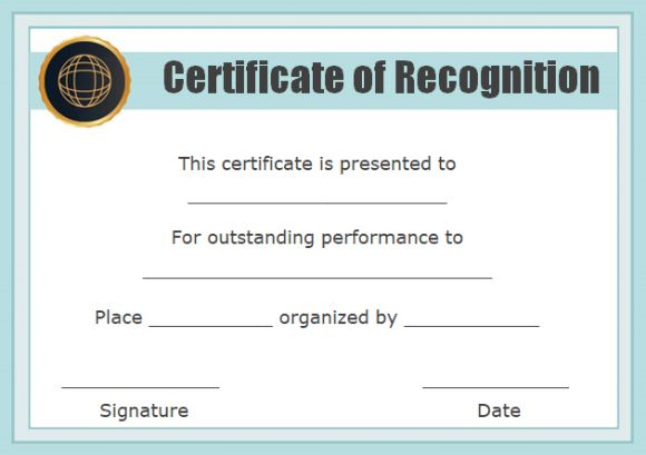 Trend certificate of recognition template