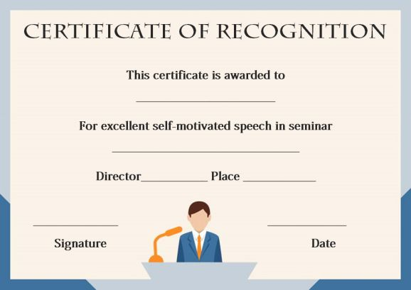 certificate of recognition as speaker