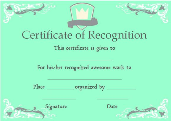 certificate of academic recognition template