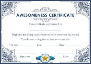 Certificate of Awesomeness Template Document