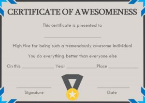Certificate of Awesomeness Template Documents