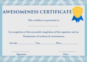 Certificate of Awesomeness Template Words