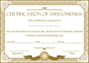 Certificate of Awesomeness Templates