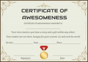 Certificate of Awesomeness Word Template