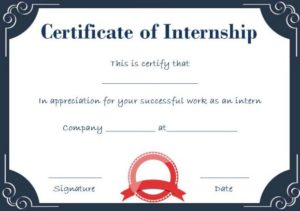 Certificate of Completion Internship Template