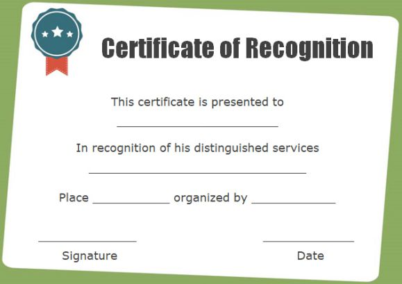 certificate of recognition as chairman