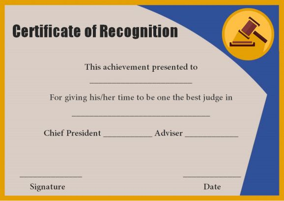 certificate of recognition as judge
