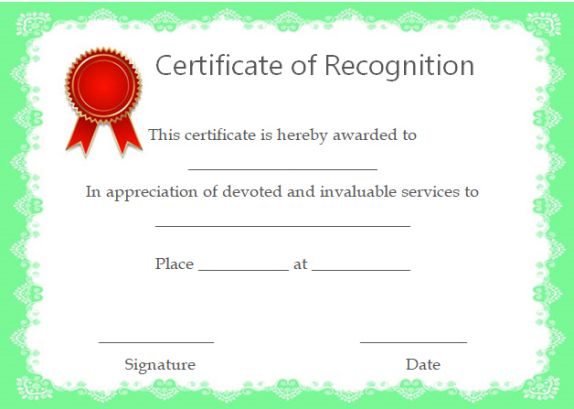 certificate of recognition award template