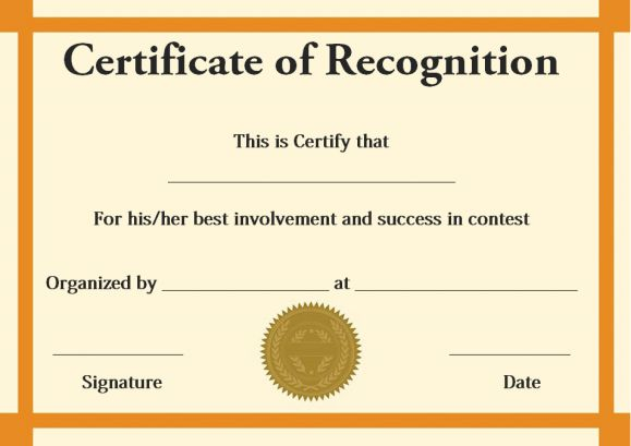 certificate of recognition contest