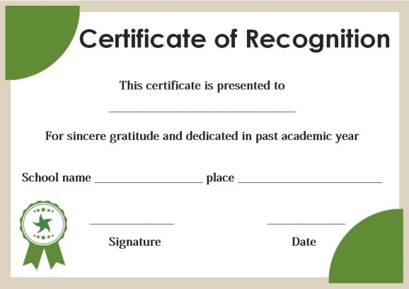 certificate of recognition for honor students template