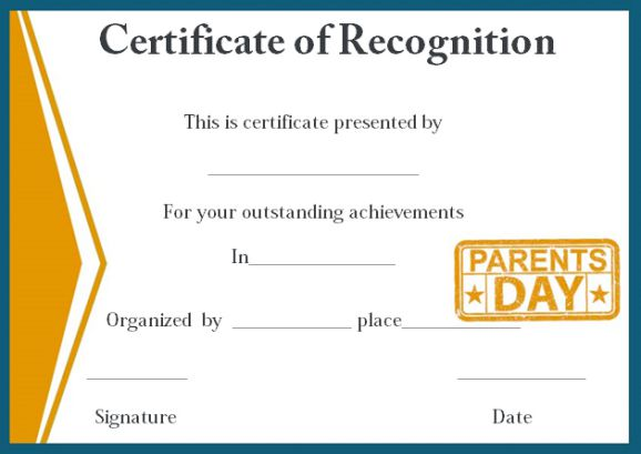 certificate of recognition for outstanding parents