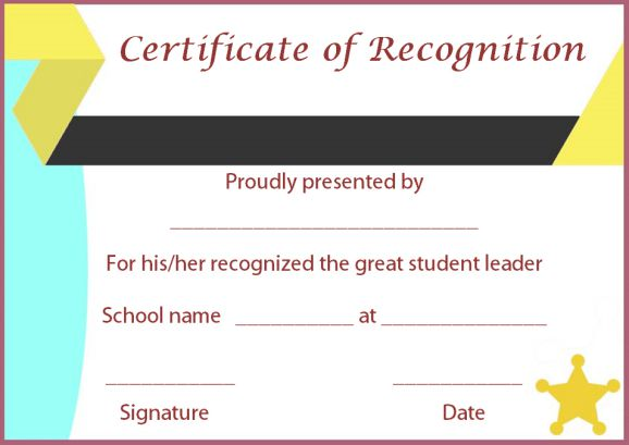 certificate of recognition of student leadership