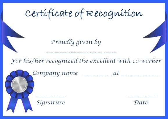 certificate of recognition retirement
