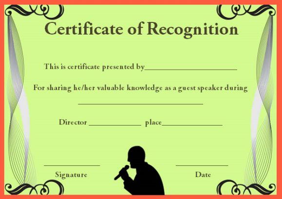 certificateof recognition template for guest speaker