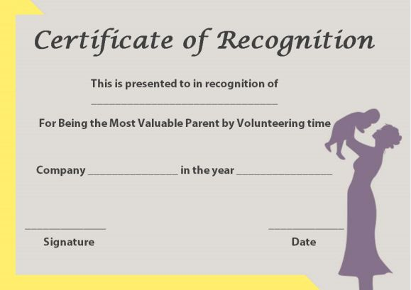 certificate of recognition template for parents