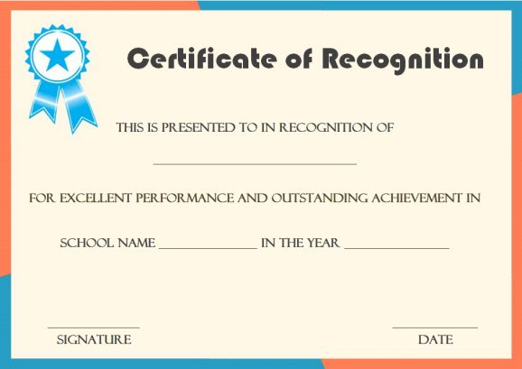 certificate of recognition template for students