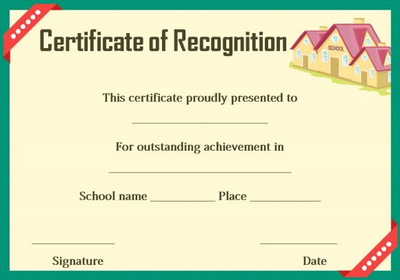 certificate of recognition template school