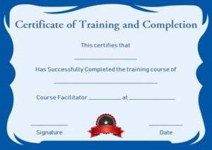 Certificate of Training Completion Template Free