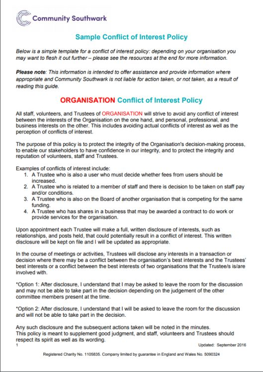 Corporate Conflict of Interest Policy Template