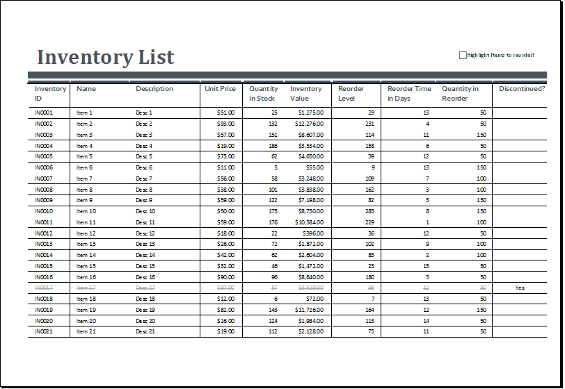 Inventory Sheet Template 40 Ready To Use Excel Sheets For Inventory Tracking And Management System Demplates
