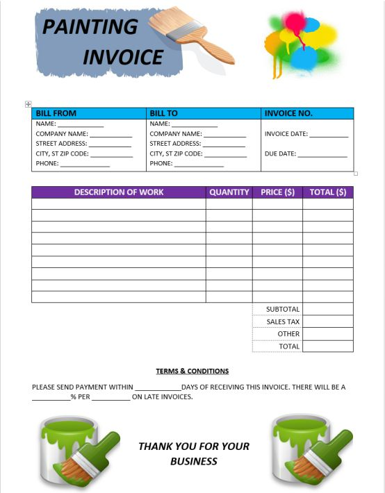 Painting Invoice