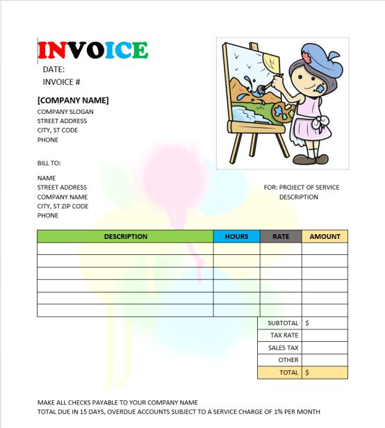 Painting Invoice Templates