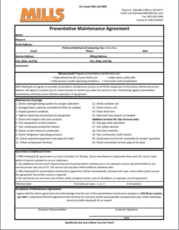Preventative Maintanance Agreement