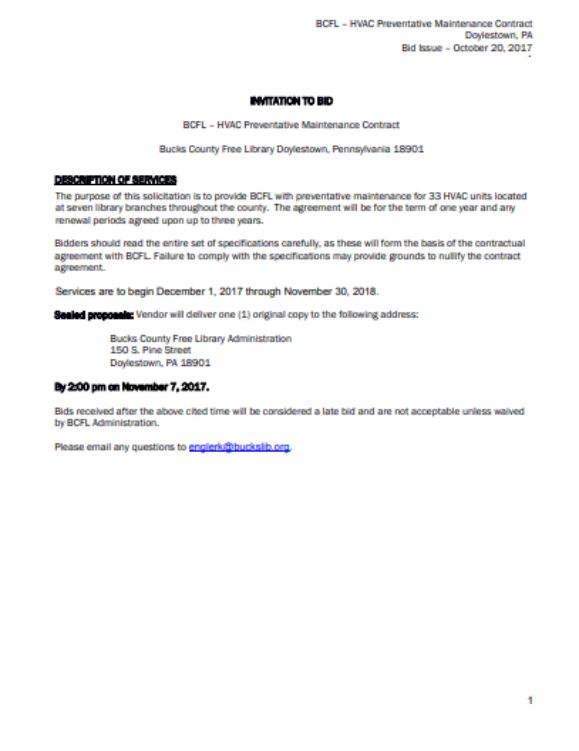 RFP HVAC Preventative Maintenance Invitation