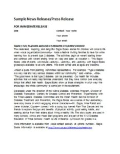 Sample News Release